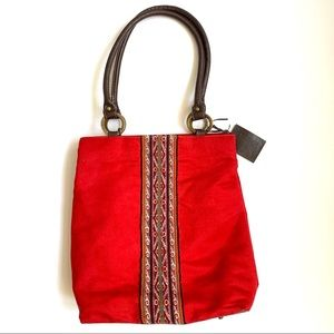 PERUVIAN W/ LEATHER HANDMADE LOOM BAG TOTE